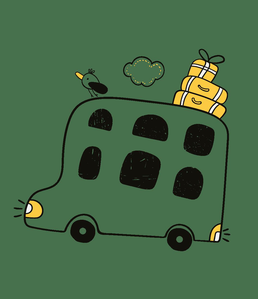 Crypto-bus with critical bird on top